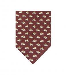 Salvatore Ferragamo Brown Elephant Print Tie