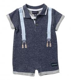 Calvin Klein Baby Boys Navy Suspender French Terry Romper