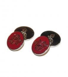 Ralph Lauren Red Silver Vintage Collegiate Rose Cufflinks