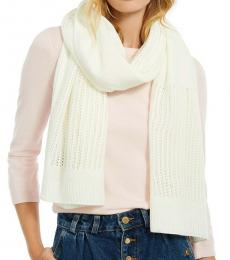 DKNY Ivory Logo Open-knit Blocked Scarf