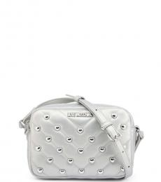Love Moschino Silver Quilted Stud Heart Small Crossbody