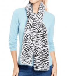DKNY Black-White Fuzzy Animal Print Scarf