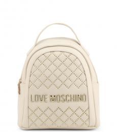 Love Moschino White Logo Small Backpack