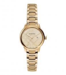 Burberry Gold Plaid Dial Watch