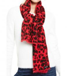 DKNY Red Fuzzy Animal Print Scarf