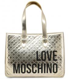Love Moschino Gold Quilted Logo Large Tote