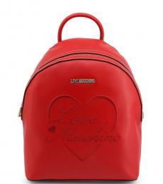 Love Moschino Red Logo Medium Backpack