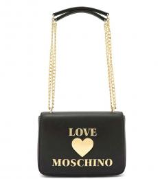 Love Moschino Black Padded Heart Medium Shoulder Bag