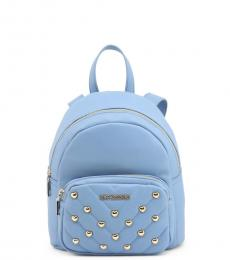 Love Moschino Blue Quilted Stud Heart Small Backpack