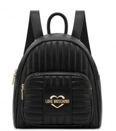 Love Moschino Black Logo Medium Backpack