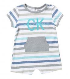Baby Boys White Striped Logo Romper