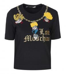 Love Moschino Black Embroided Logo Top