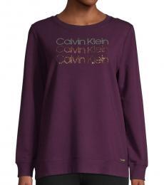 Calvin Klein Aubergine Sequin Cotton Sweatshirt