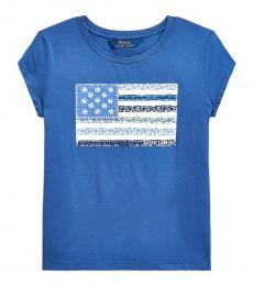 Ralph Lauren Girls Navy Floral Flag Jersey T-Shirt
