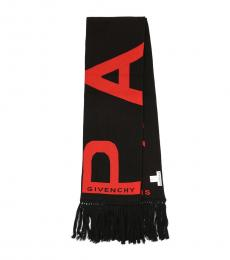 Givenchy Black-Red Logo Scarf