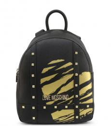 Love Moschino Black Studded Medium Backpack