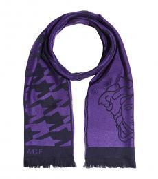 Versace Purple Wool Classic Scarf