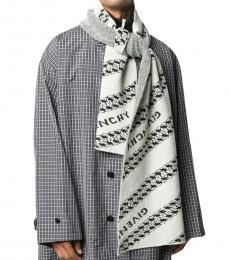 Givenchy White-Black Logo Scarf