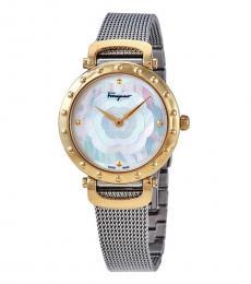 Salvatore Ferragamo Silver Logo Mesh Watch