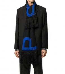 Givenchy Black-Blue Logo Scarf