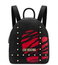 Love Moschino Black Studded Medium Backpack