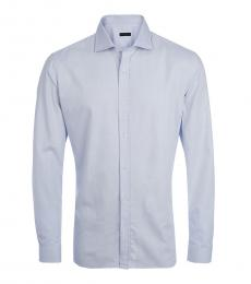 Zegna Blue Solid White Dress Shirt