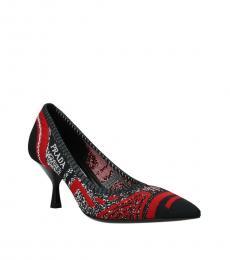 Prada Black Red Side Logo Heels