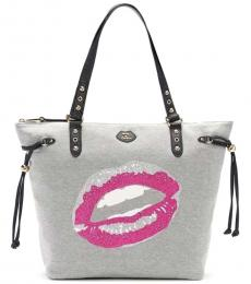 Light Grey Sequinced Lips Large Tote