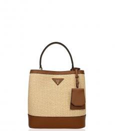 Beige/Brown Straw Mini Bucket Bag