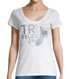 True Religion White Short-Sleeve Cotton Top