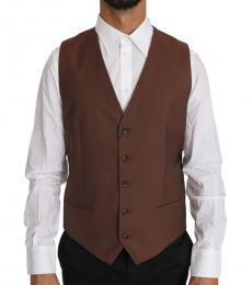 Dolce & Gabbana Dark Brown Wool Silk Waistcoat Vest