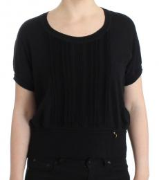 Cavalli Class Black Short Sleeves Sweater Top