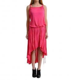 Versace Collection Pink Asymmetrical Hem Sheath Dress