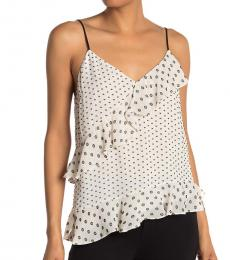 White Polka Dot Asymmetrical Camisole Top
