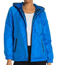 Bright Blue Hooded Logo Plush Jacket