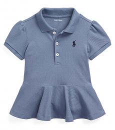 Ralph Lauren Baby Girls Capri Blue Peplum Pique Polo