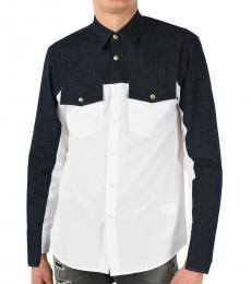 White Denim Details Spread Collar Shirt