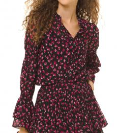 Pink Floral Georgette Bell-Cuff Blouse