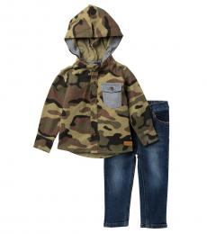 7 For All Mankind 2 Piece Hooded Top/Jeans Set (Baby Boys)