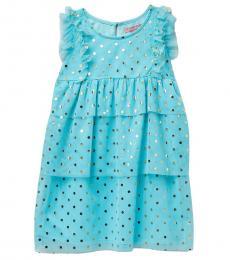 BCBGirls Little Girls Blue Foil Printed Tiered Mesh Dress