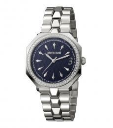 Silver Blue Dial Watch