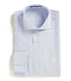 Light Blue Slim Fit Striped Dress Shirt