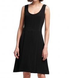 DKNY Black Dotted Pinstripe Dress