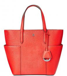 Ralph Lauren Red Embossed Carlyle Small Tote