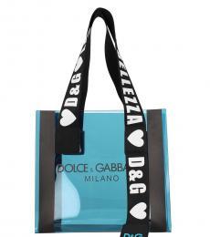 Dolce & Gabbana Blue Logo Strap Medium Tote