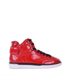 Dolce & Gabbana Red Patent High Top Sneakers