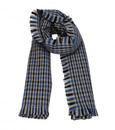 Stella McCartney Blue Check Stripe Scarf
