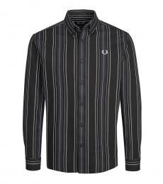 Fred Perry Dark Grey Logo Stripe Shirt