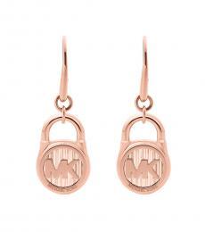 Michael Kors Rose Gold Logo Padlock Drop Earrings