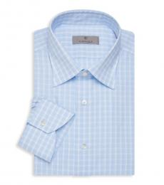 Canali Light Blue Modern-Fit Check Shirt